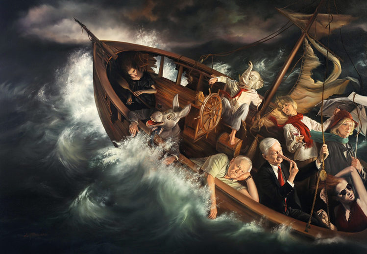 David M. Bowers painting of Ship of Fools