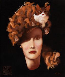 Work of  Lukas Kandl - Jeune Femme Au Chapeau Chat La Nuit