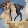 Michael Parkes artwork Dark Unicorn on canvas