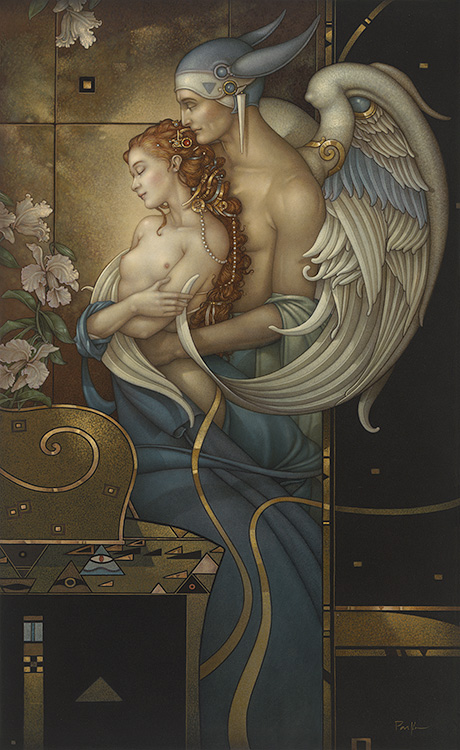 Michael Parkes artwork Deva's Garden on canvas