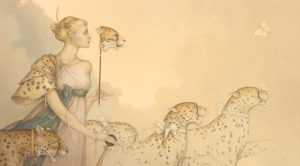 Michael Parkes artwork Five Cheetas on canvas