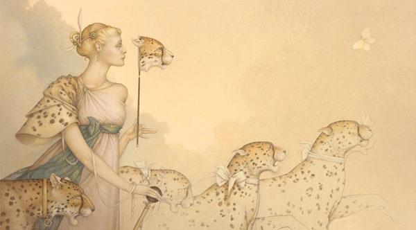 Michael Parkes artwork Five Cheetas on canvas