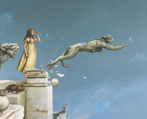 Michael Parkes artwork Gargoyles on canvas