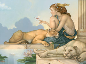 Michael Parkes artwork Dragonfly Deva on canvas