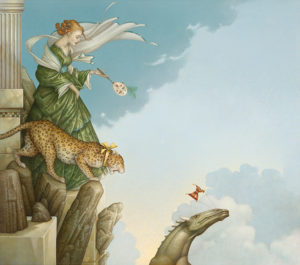 Michael Parkes artwork Fearless on canvas
