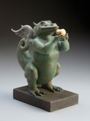 "Dragon Heart ""Green"" a sculpture of Michael Parkes"