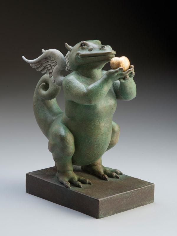 "Dragon Heart ""Green"" a sculpture of Michael Parkes"
