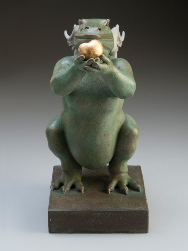 "Dragon Heart ""Green"" a sculpture of Michael Parkes (Front)"