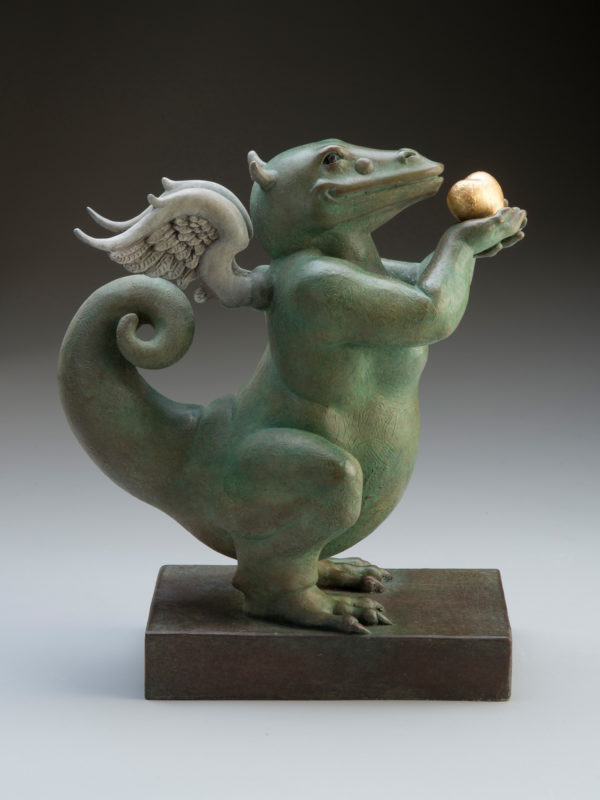 "Dragon Heart ""Green"" a sculpture of Michael Parkes (Side)"
