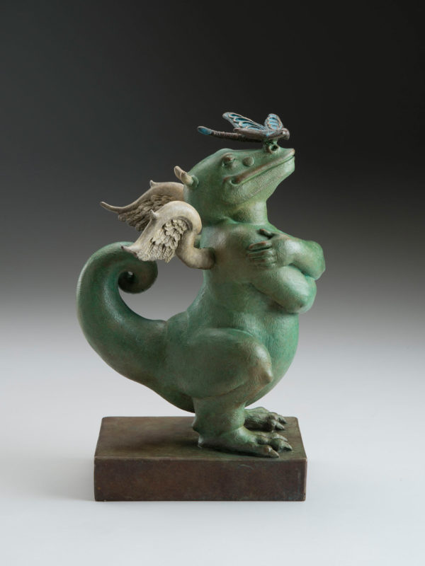 "Dragon Dragon ""Green"" a sculpture of Michael Parkes (Side)"