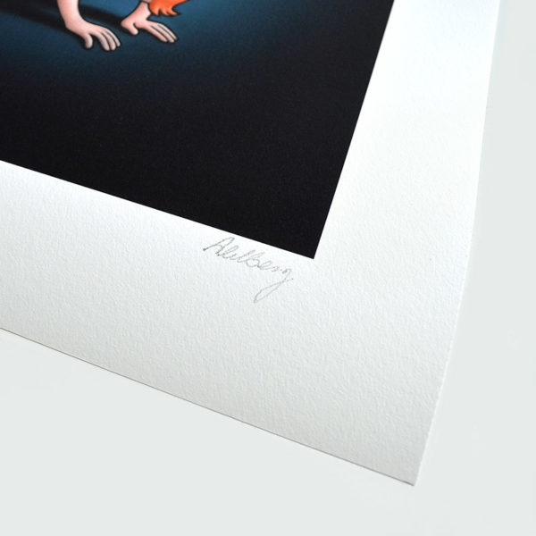 Detail photo of the signature of giclee On The Floor