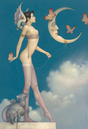 Giclee of Michael Parkes, Butterfly Moon on paper