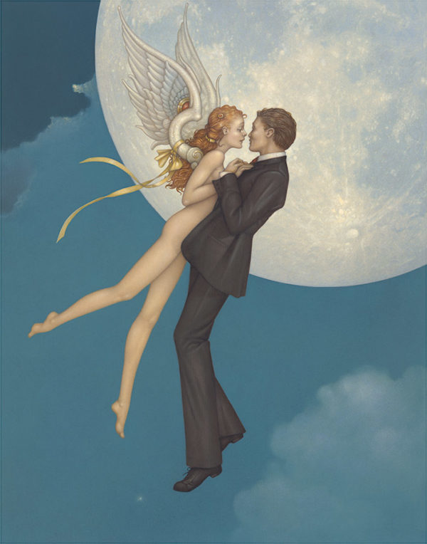 Giclee of Michael Parkes, Dancing with an Angel on paper