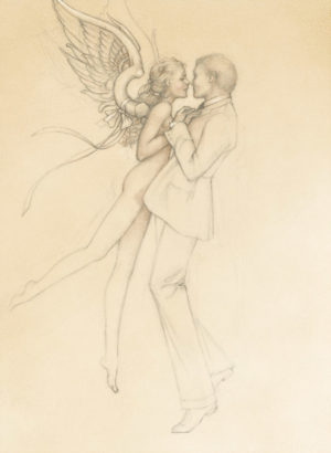 Giclee of Michael Parkes, Dancing with an Angel (drawing) on paper