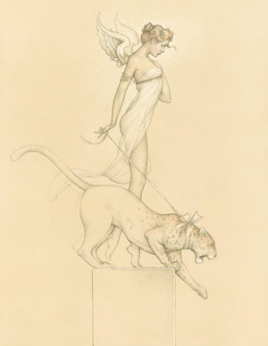 Giclee of Michael Parkes, Descending (drawing) on paper