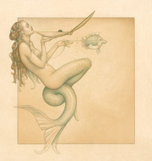 Giclee of Michael Parkes, Mermaid on paper