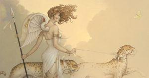 Michael Parkes - Three Leopards, canvas giclee