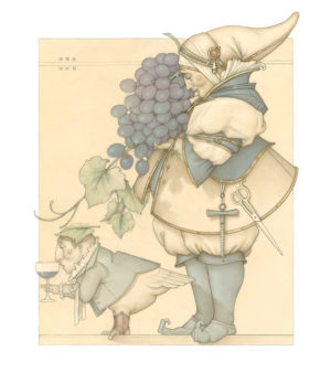 Giclee of Michael Parkes, Wine Collector