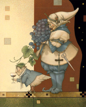 Giclee of Michael Parkes, Wine Collector on canvas
