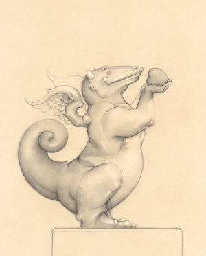Giclee of Michael Parkes, Dragon Heart (drawing) on paper