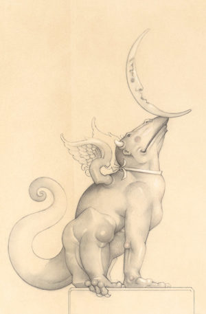 Giclee of Michael Parkes, Dragon Moonbeam (drawing) on paper