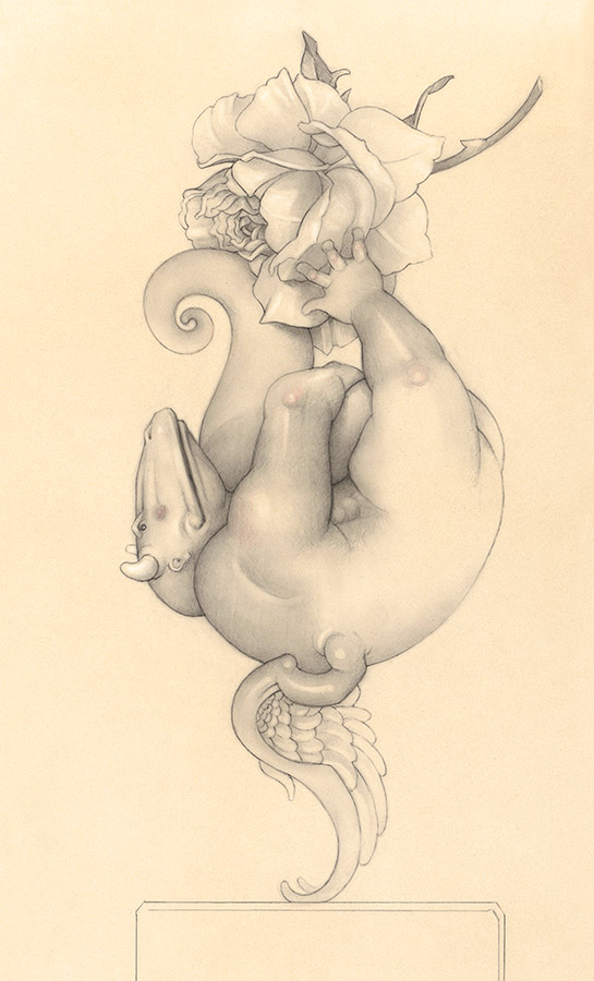 Giclee of Michael Parkes, Dragon Rose Play (drawing) on paper