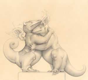 Giclee of Michael Parkes, Embraceable Dragon (drawing) on paper