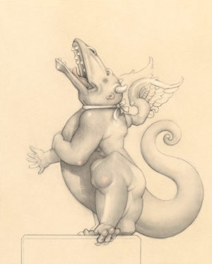 Giclee of Michael Parkes, Laughing Dragon (drawing) on paper