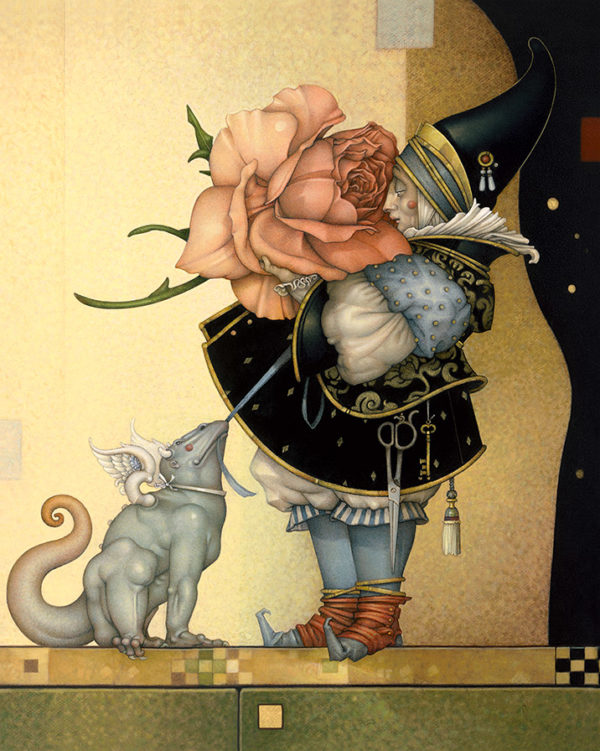 Giclee of Michael Parkes, The Rose Collector