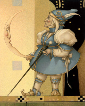 Giclee of Michael Parkes, Moon Minders New Moon