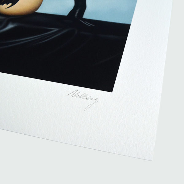 Detail photo of the signature of giclee Plaything IV