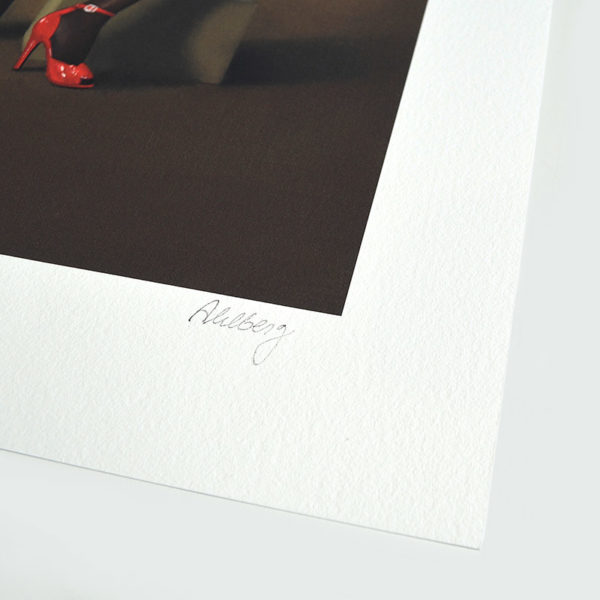 Detail photo of the signature of giclee Stalker