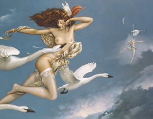 Michael Parkes - Nightflight, canvas giclee