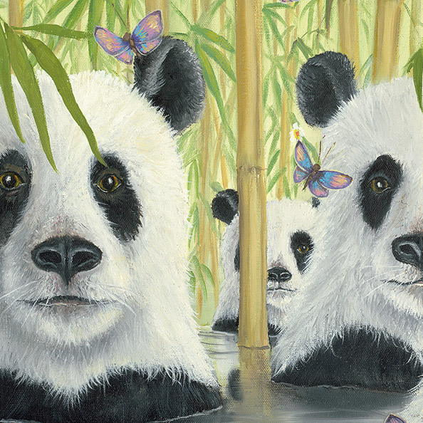 Detail Photo of Bear Cats Painting by Robert Bissell