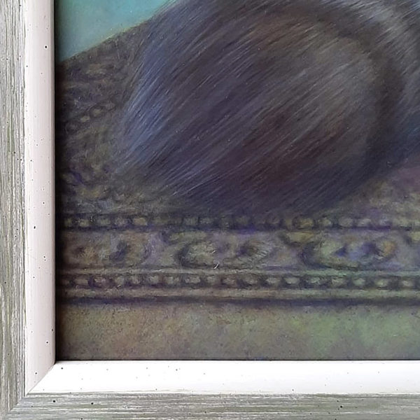 Detail of left corner of Dreamcat Painting