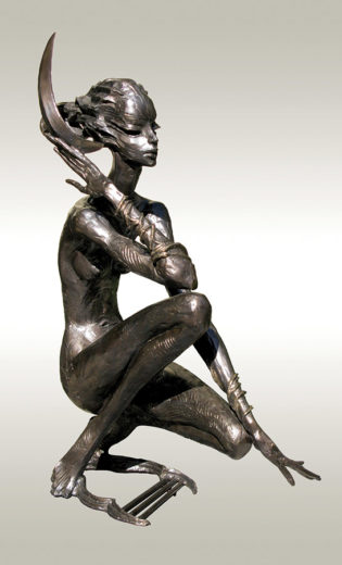 A bronze sculpture of Igor Grechanyk, called New Moon