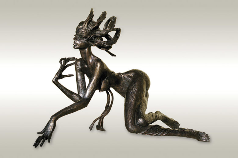 A bronze sculpture of Igor Grechanyk, called Touch of Imagination