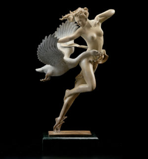 A sculpture of Michael Parkes Night Flight