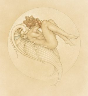 Masterwork on Vellum of Michael Parkes called 'Angel of August'