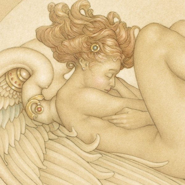 Detail of Michael Parkes 'Angel of August' print on Vellum