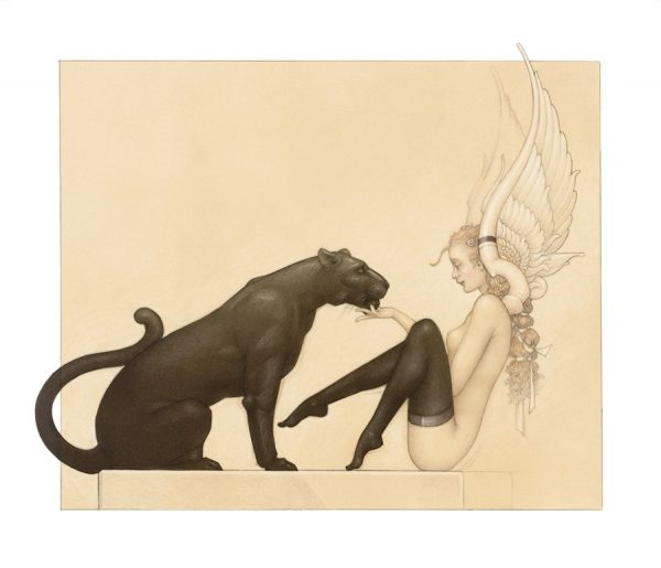 Paper Giclee of Michael Parkes Black Panter White Wings