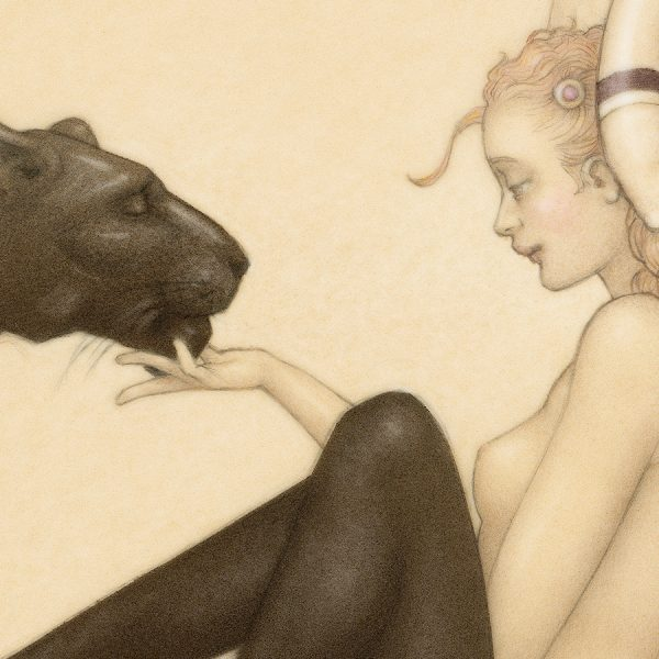Detail of Michael Parkes Giclee Black Panter White Wings