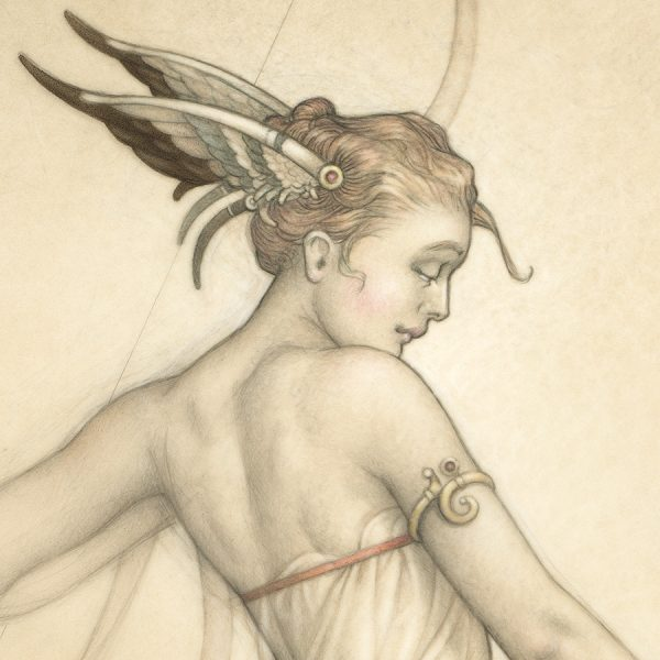 Detail of Michael Parkes Giclee Goddess of the Hunt