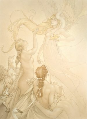 Masterwork on Vellum of Michael Parkes called Golden Lotus