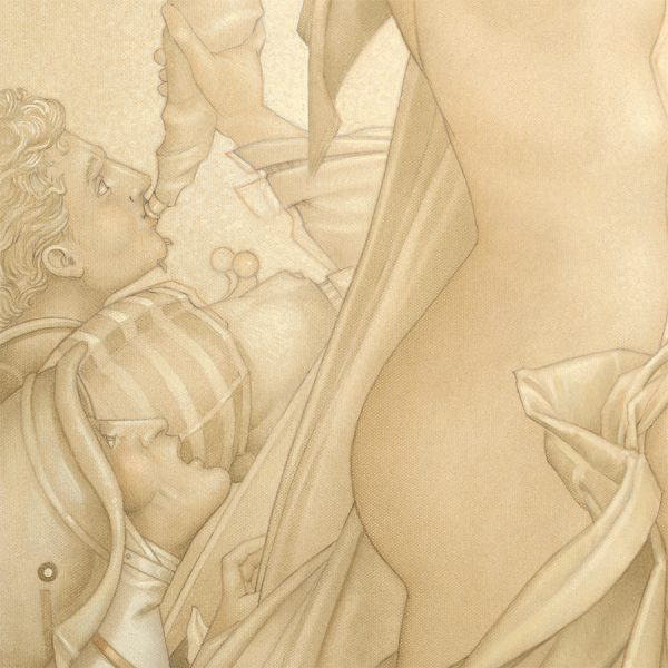 Detail of Michael Parkes Golden Lotus print on Vellum