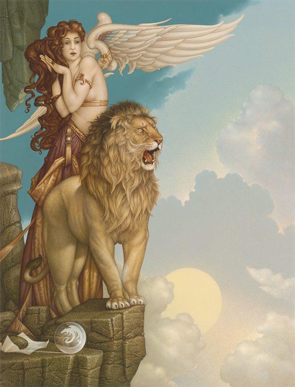 Canvas Giclee of Michael Parkes Lion's Return