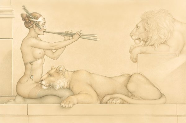 Masterwork on Vellum of Michael Parkes called Lion's Song