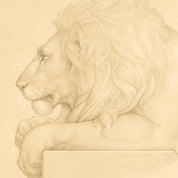 Detail of Michael Parkes Lion's Song print on Vellum