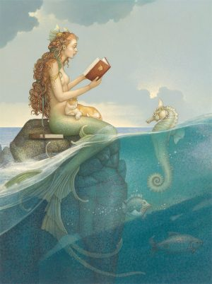 Canvas Giclee of Michael Parkes Mermaid Secret Deluxe