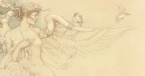 Masterwork on Vellum of Michael Parkes called Primavera